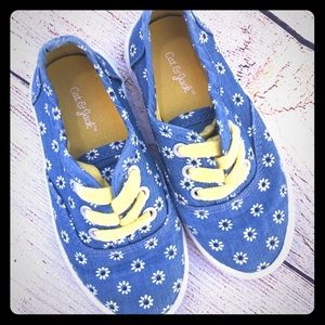 2/$8. Cat and Jack blue/yellow flower size 7t shoe